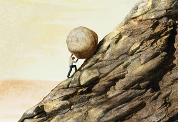 Image result for picture man pushing rock uphill
